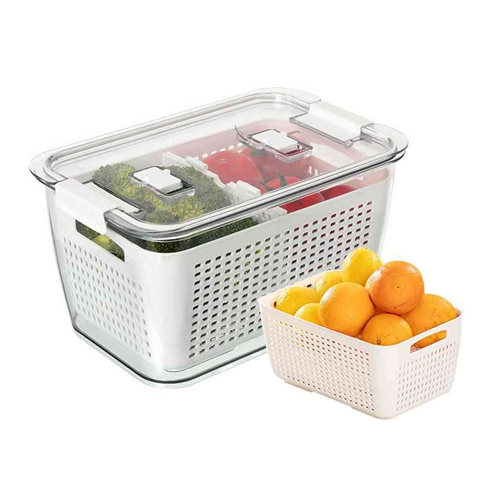 Fresh Vegetable, Fruit Drain Basket Storage Containers With Lid