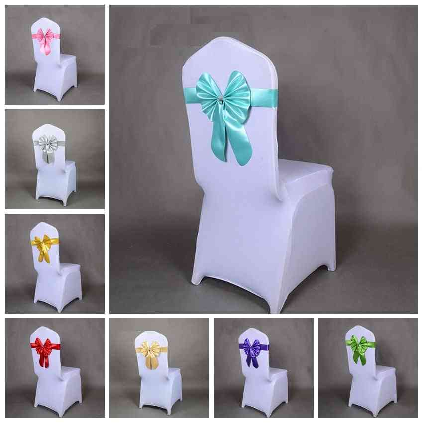 Butterfly Style Bow Tie Stretch Sash Chair Band Spandex Chair Cover Sashes