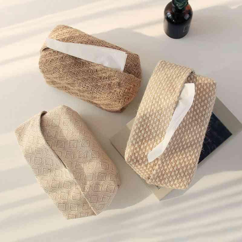 Japanese-style Jute Tissue Case, Napkin Holder