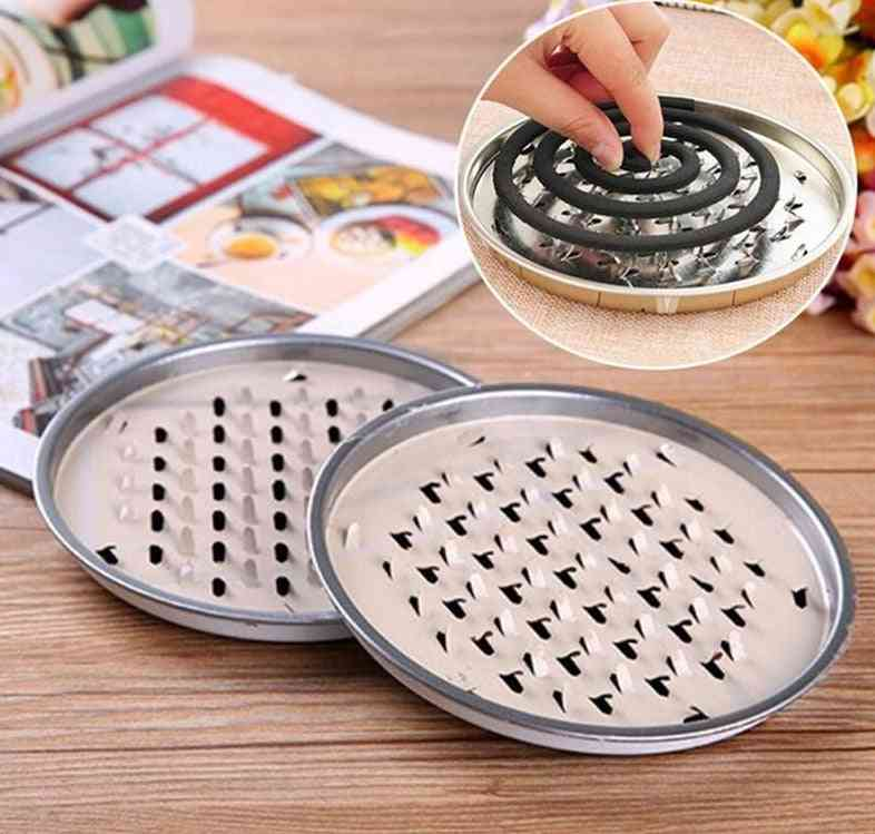 Mosquito Coil Holder Tray, Frame Safe Metal Round Rack Plate
