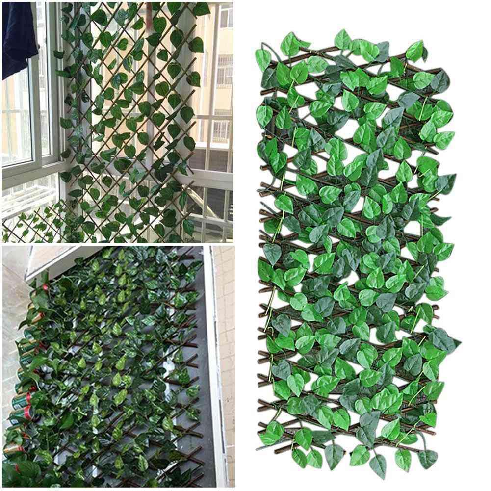 Adjustable Retractable Fence Artificial Leaf Garden Trellis
