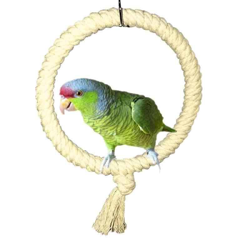Parrot Rope Swing, Standing Bar Pet Bird Chewing Climbing Ring