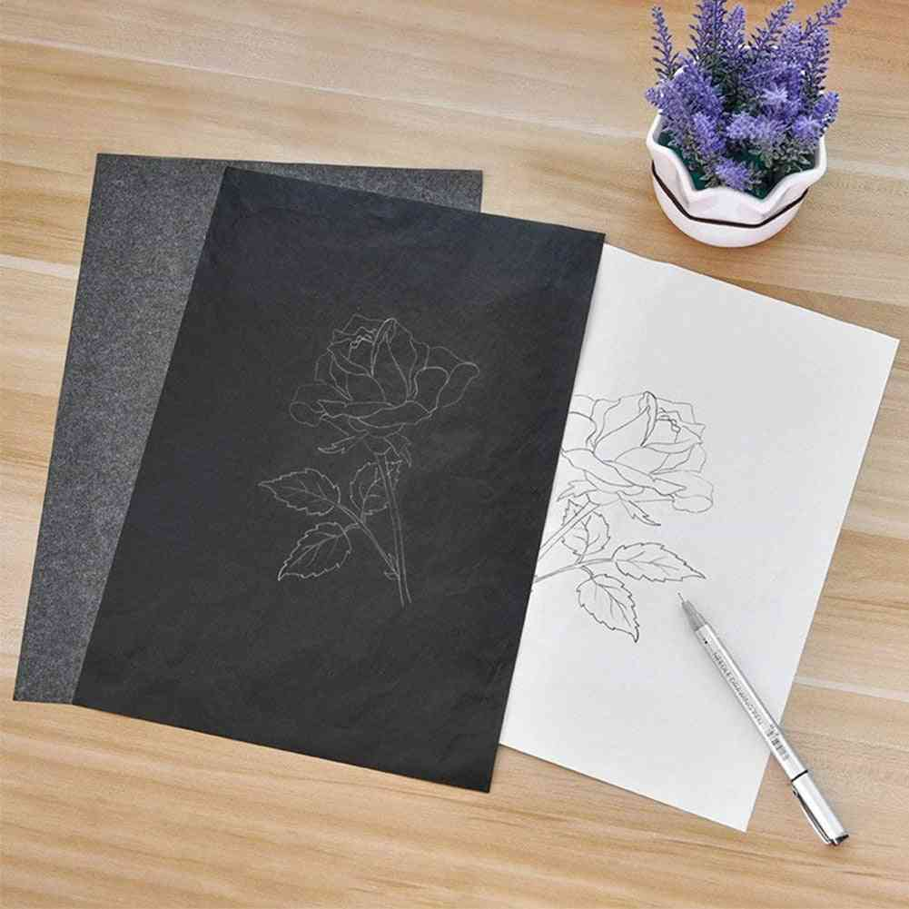 A4 Copy Carbon Paper, Black Painting Tracing Graphite, Reusable Accessories Legible Trace