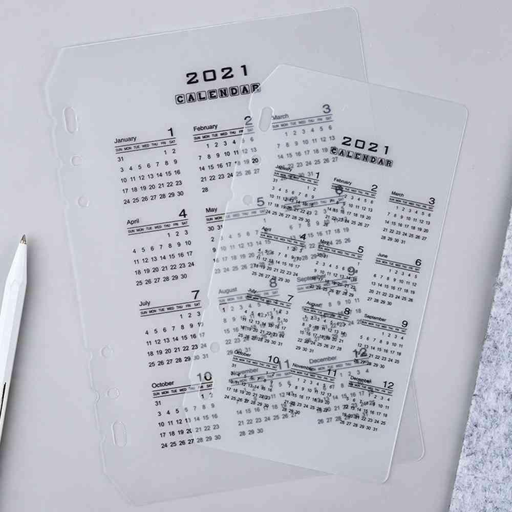 Calendar Pp Divider, Loose Leaf Notebook Planner Index Sheet, Binder Category, Filofax Inner Clip