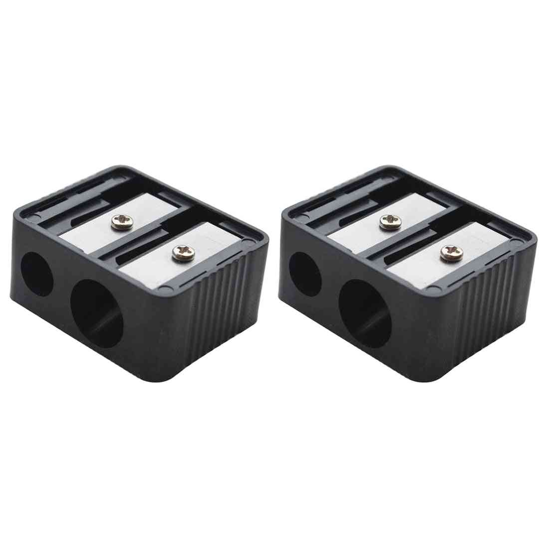 Double Holes Precision Cosmetic Pencil Sharpener For Eyebrow Liner Eyeliner Pencil