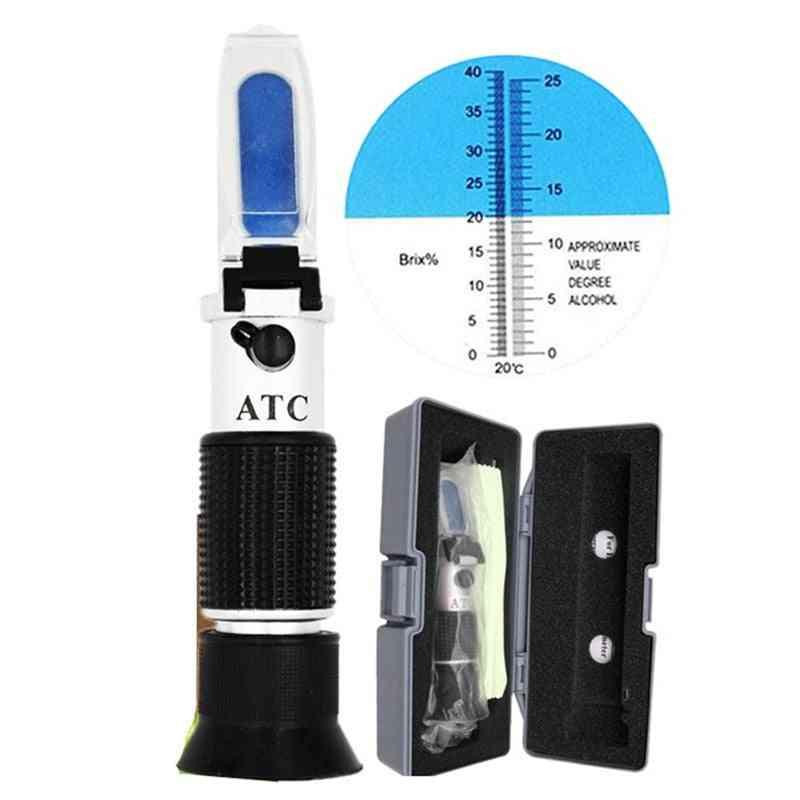 Handheld Alcohol Refractometer Sugar Brix, Alcoholometer Meter With Retail Box
