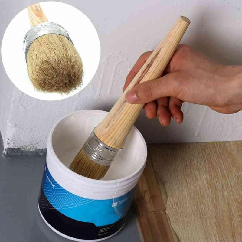 Round Bristle Chalk Oil Paint Painting Wax Wooden Handle Brush
