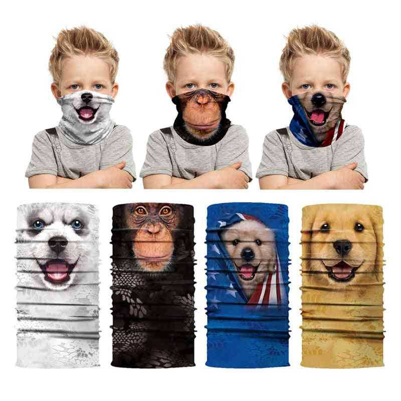 Animal Printed Kids Magic Scarf Buffs Bandana Neck Warmer Gaiter Tube Face Shield