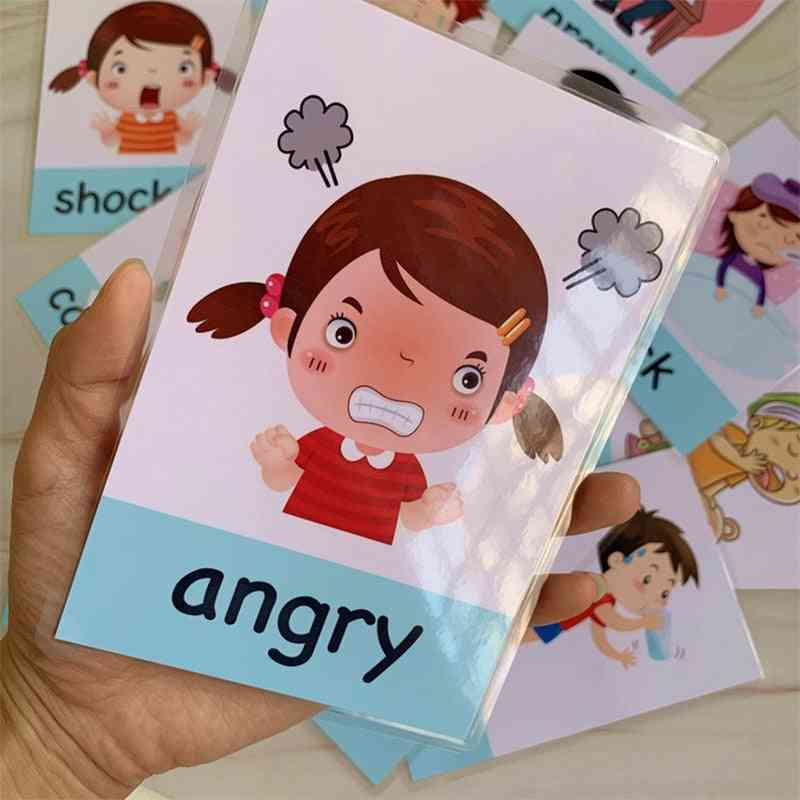 Montessori Baby Emotion Learning Card, Cartoon English Flash Cards For, Kids, Memory Exercise Game