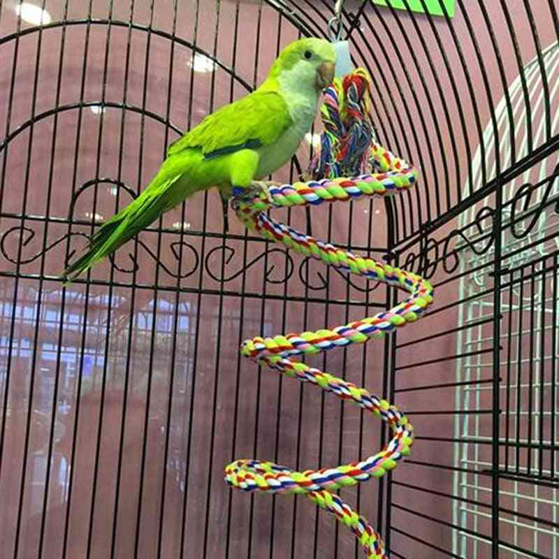 Parrot Rope Hanging Braided Budgie Chew Rope Bird Cage Cockatiel Toy