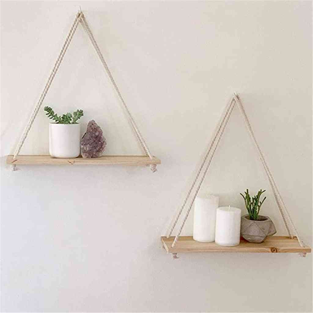 Premium Wood Swing Hanging Rope Wall Mounted Shelves Plant Flower Pot Rack
