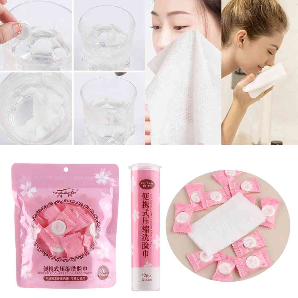 Disposable Pure Cotton Compressed Portable Travel Face Towel, Water Moistened, Washcloth Napkin