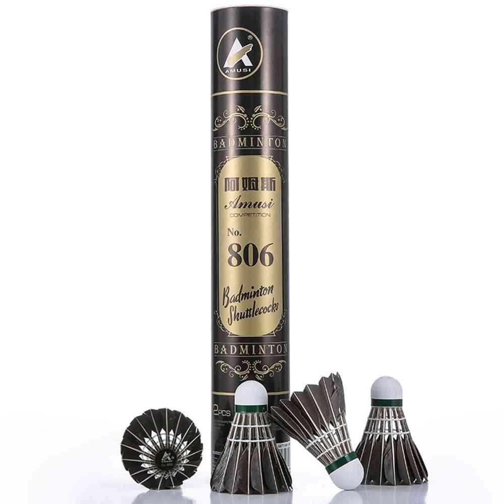 12pcs Durable Badminton Shuttlecocks Black Goose Feather Badminton Balls For Training Badminton Sports Speed 76 77