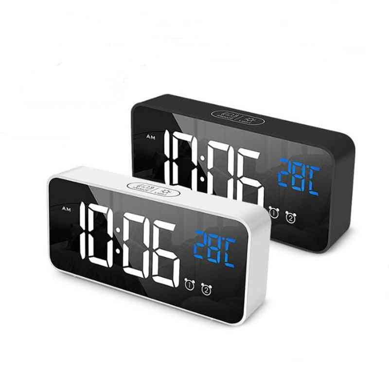 Led Digital Clock 2 Alarms Voice Control Snooze Temperature Display