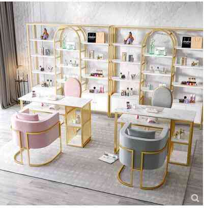 Modern Minimalist Double Marble Nail Art Table And Chair Set