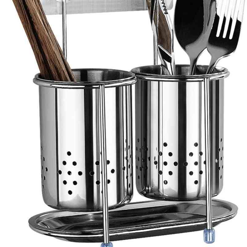 Wall-mounted Stainless Steel Chopsticks Storage Bucket Drain Rack