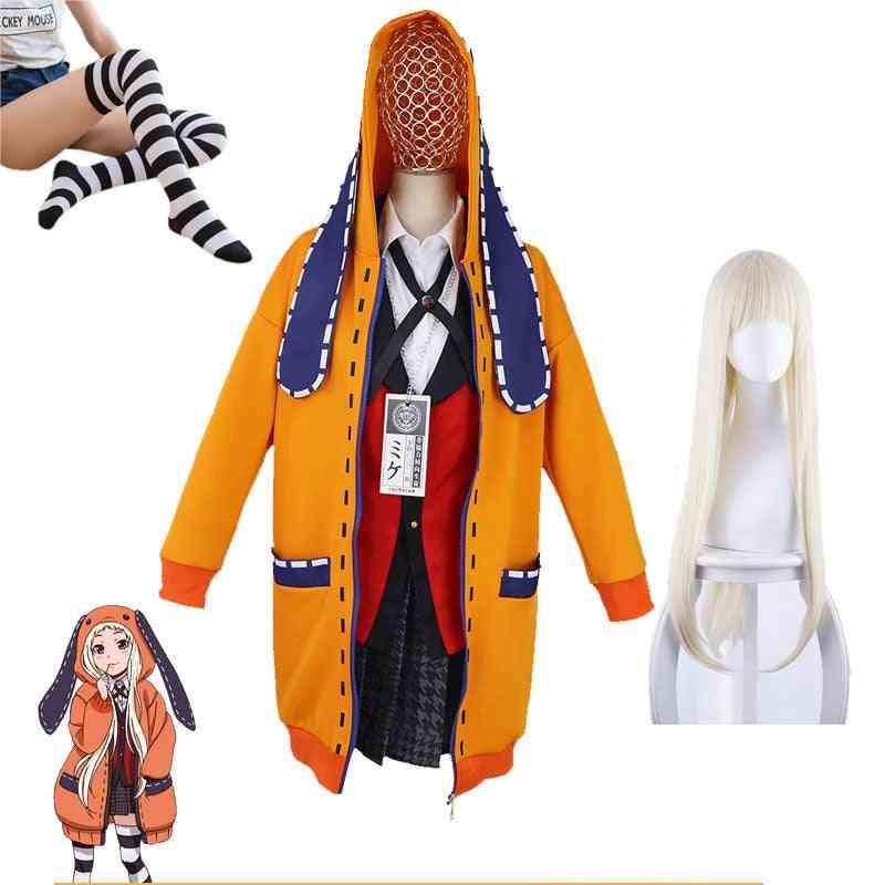 Anime Kakegurui School Girl Jk Uniform Set Hoodie Runa Yomotsuki Cosplay Costume Wig Kirari Jabami Yumeko Halloween Dress Women