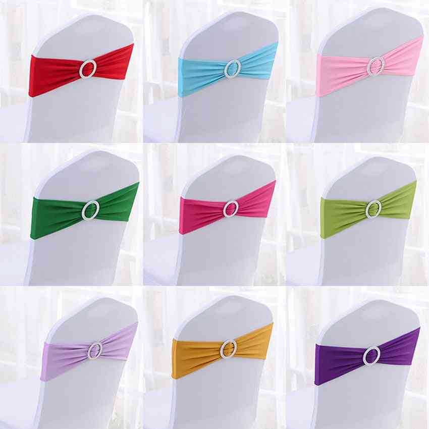 50pcs Tretch Lycra Spandex Chair Bands With Buckle Slider For Wedding Decorations Wholesale Chair Sashes Bow Not A Chair Cover