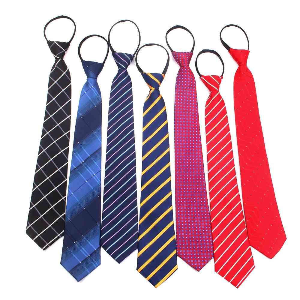 Zipper Tie Women Classic Skinny Neck Tie For Wedding Casual Plaid Mens Neckties Suits Striped Neck Ties Jacquard Cravat