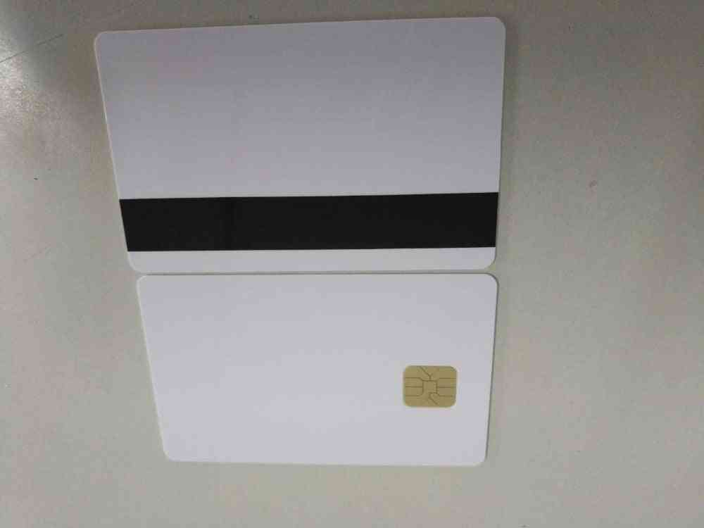 White Contact Chip - Smart Ic Blank Pvc Card With 2750 Oe Hi-co Magnetic Stripe