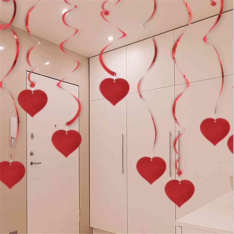 Wedding Love Heart Ceiling Hanging Spiral Garland Home Decora