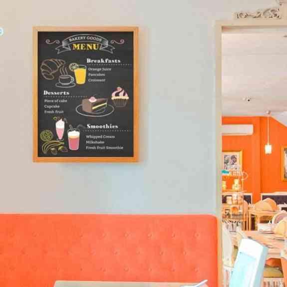 A3 Magnetic Wooden Chalkboard, Dry Erase Bulletin Board