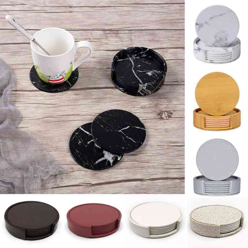 Leather Marble Coaster Drink Coffee Cup Mat