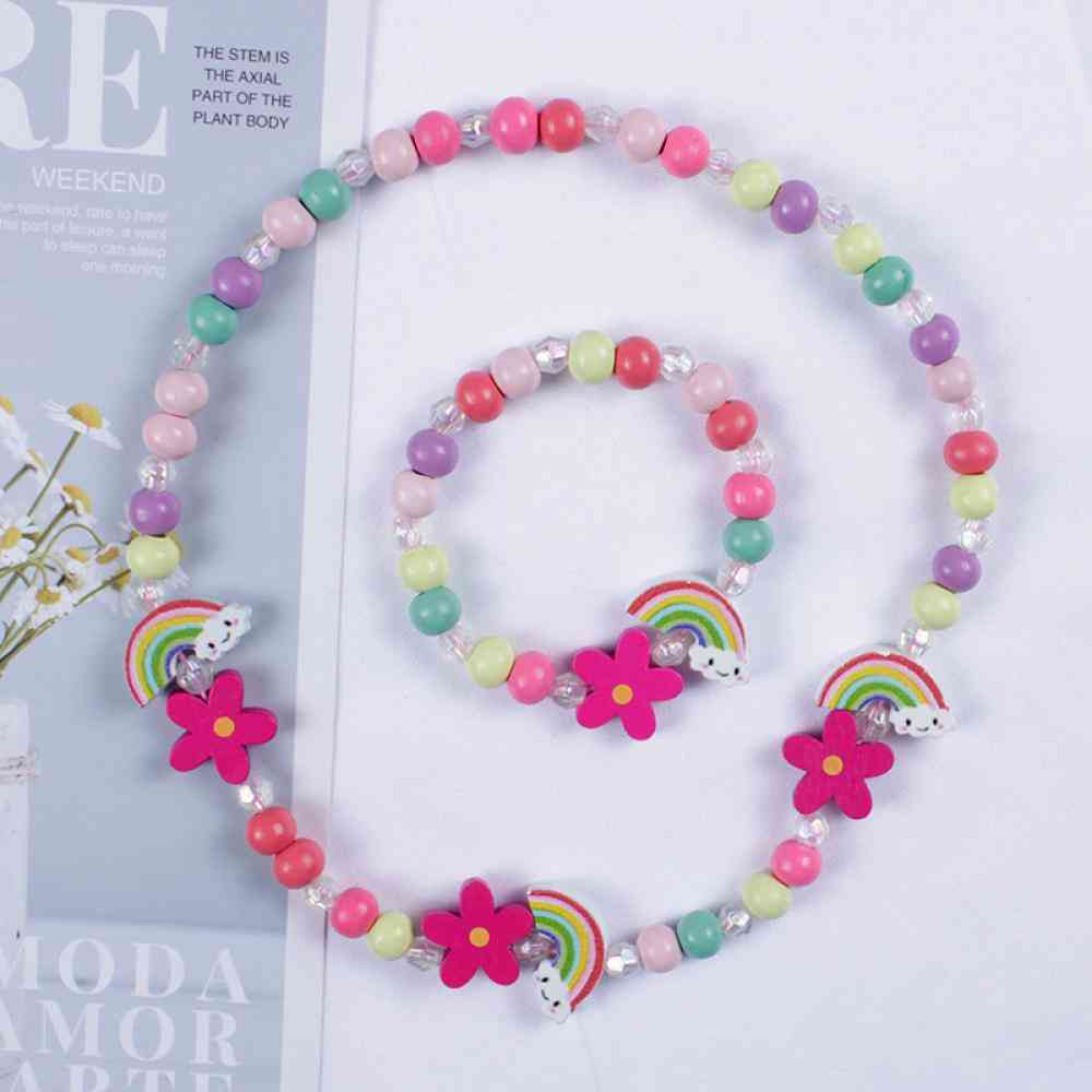 Cartoon Wooden Flower Animal Child Sweater Necklace Bracelet