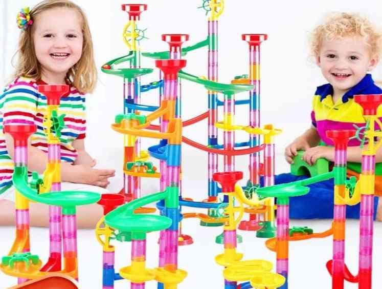 Construction Marble Run Race Track Building Blocks Kids 3d