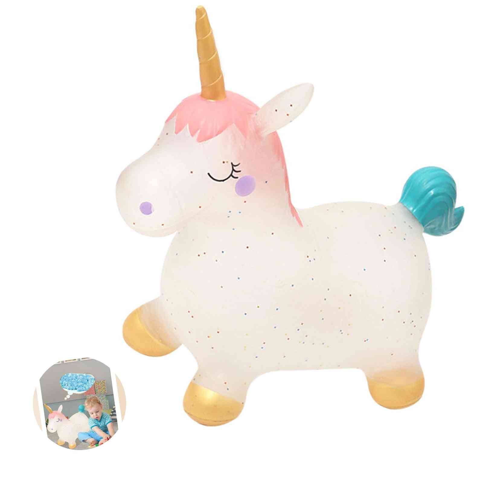 Cute Baby Inflatable Lovely Unicorn Toy Pvc Bouncy With One Air Pump Cute Jumping Horse Outdoor Sports Games Toy
