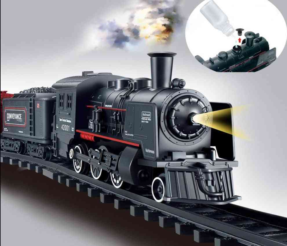 Railway Classical Freight Train Water Steam Locomotive Playset Model Electric Train