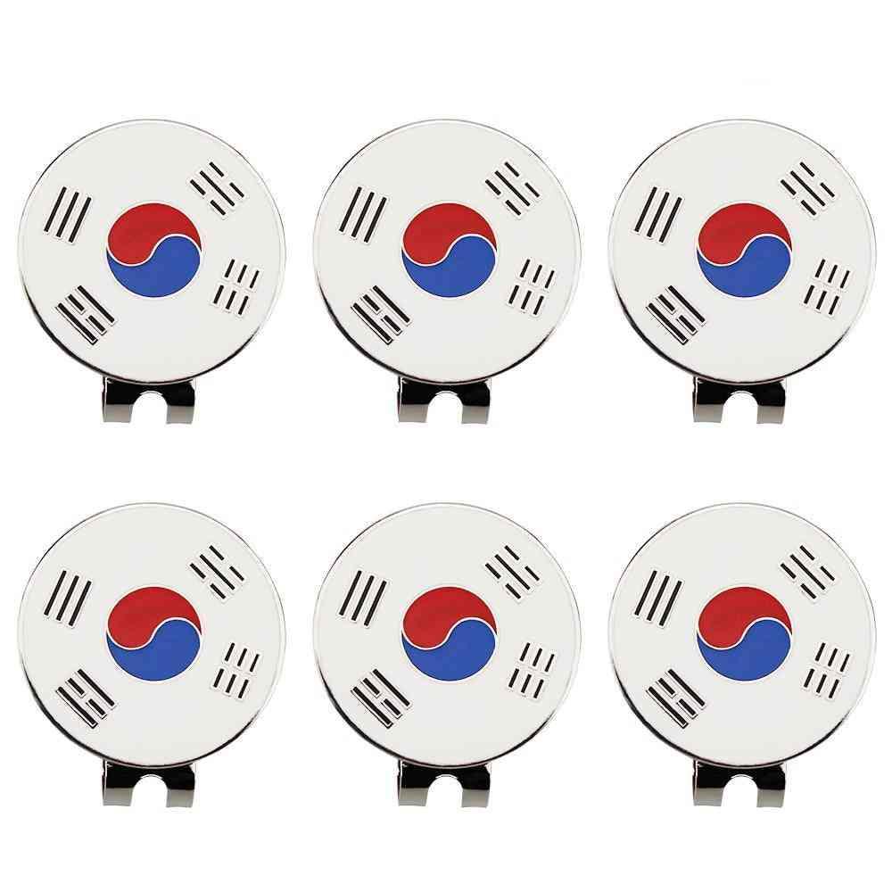 Golf Hat Clip Golf Marker Korea Flag Design Drop Ship.