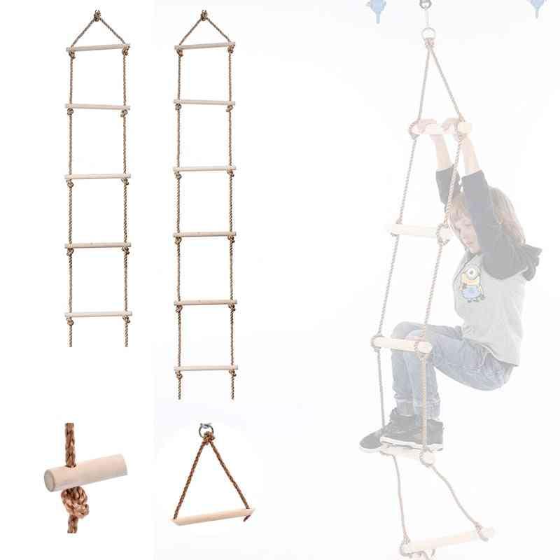 5 Rungs/6rungs Outdoor Climbing Swing Wooden Rope Ladder