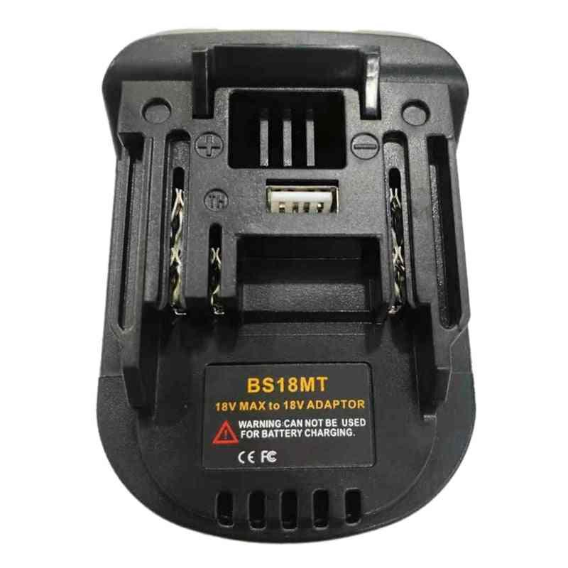 Bs18mt Battery Adapter Converter Usb For Bosch 18v Bat619g/620 &  Makita 18v Bl 1860 Lithium Battery