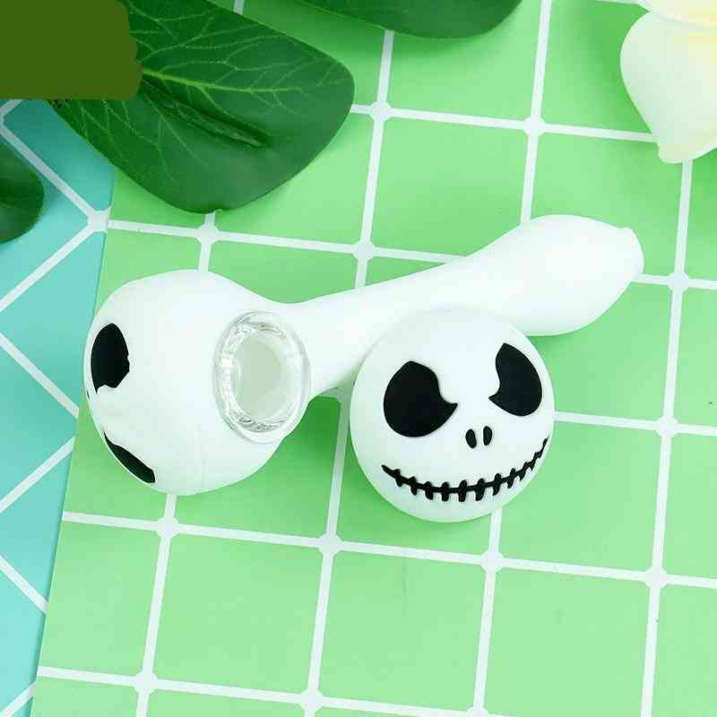 Creative Halloween Silicone Smoking Pipe With Glass Bowl