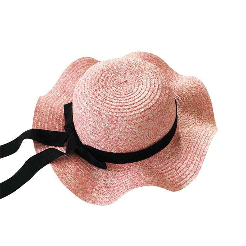Girls Summer Cap Black Ribbon Decorate Straw Hat For Panama Hat