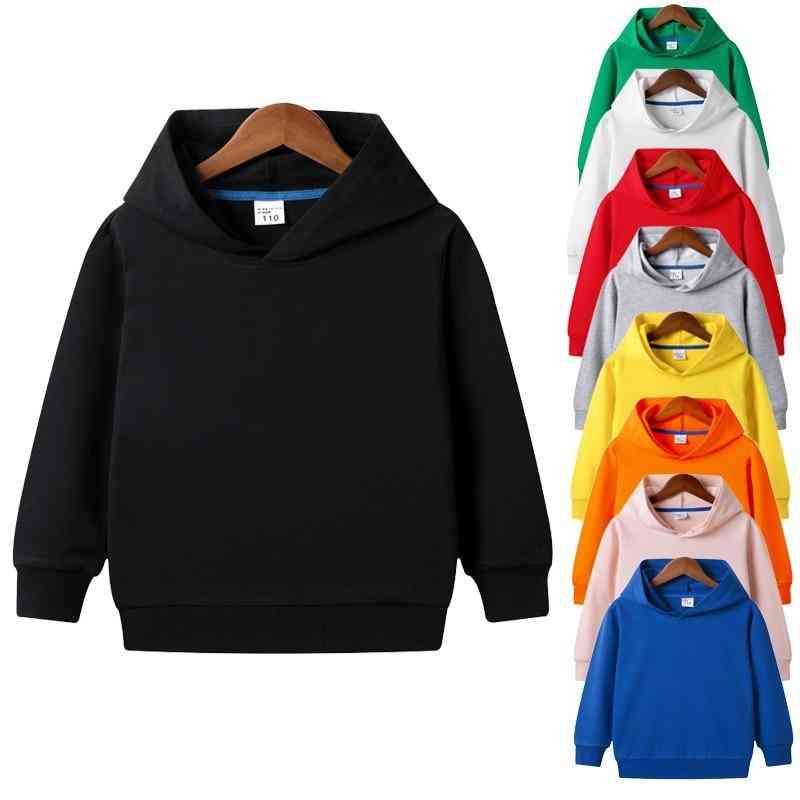 Solid Plain Hoodie Sweatshirt Tops - 1