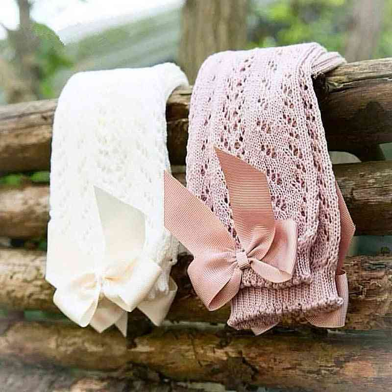 Knee-high Soft Cotton Mesh Toddlers Bow Long Socks