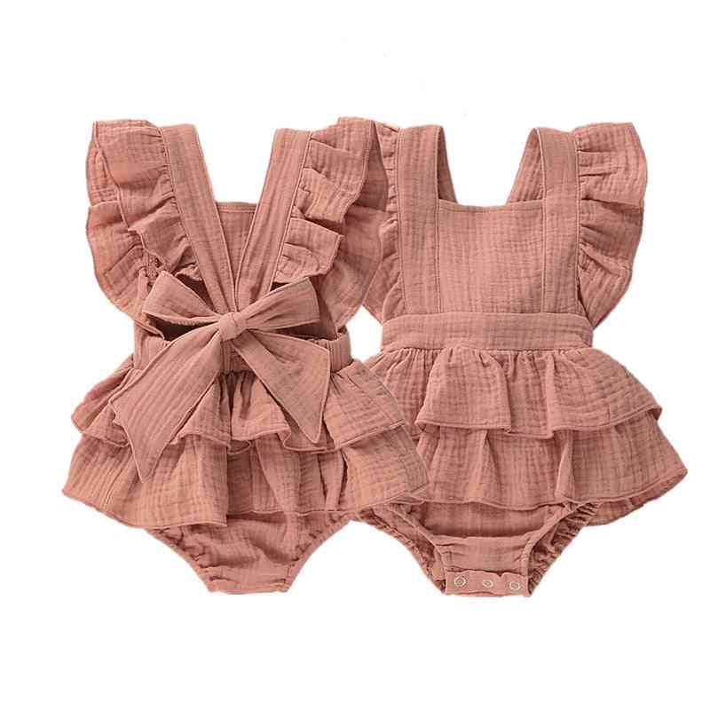 Newborn Baby Bodysuits Clothes Princess Ruffle Cotton Jumpsuit Toddler