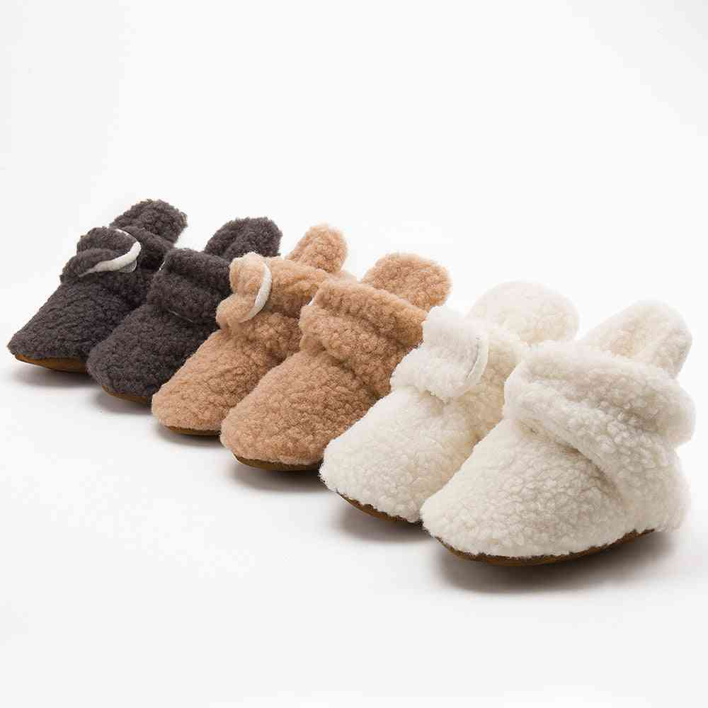 Winter Booties Fluff Soft Toddler Shoes, Anti-slip Infant Crib Shoes