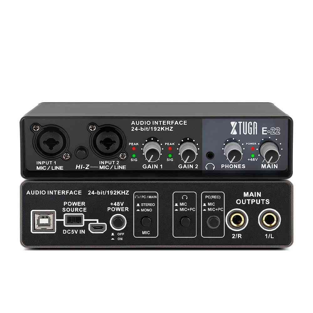 E22 Audio Interface Sound Card With Monitoring, Electric Guitar Live Recording
