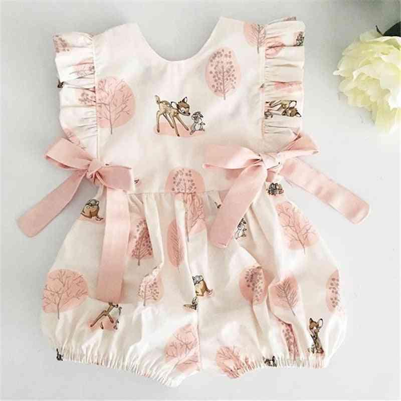 Baby Girl Deer Flower Cotton Soft Romper Jumpsuit