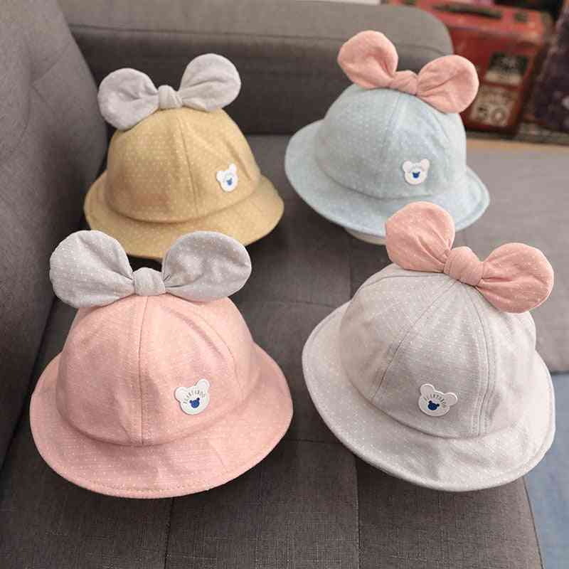 Summer Autumn Baby Hat Cute Dot Bows.