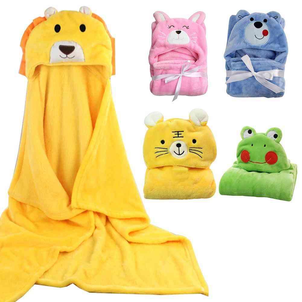 Winter Warm Flannel Blanket Bath Towel, Windproof Hooded Cloak Coat