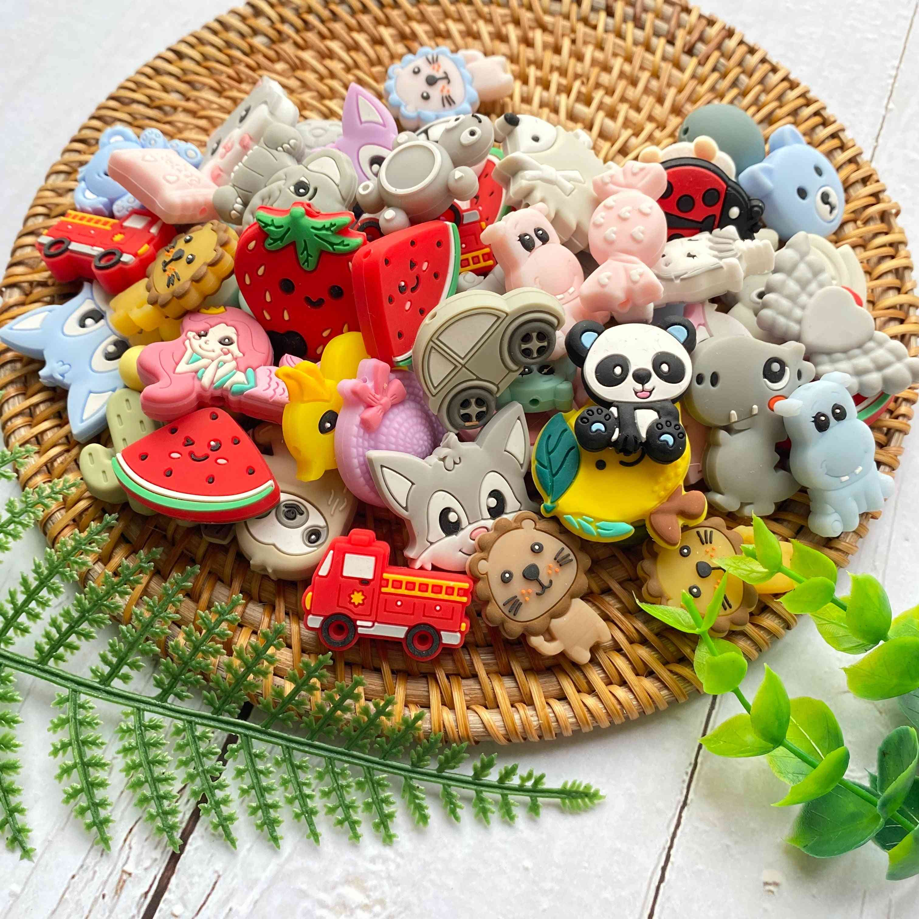 Animal Silicone Beads Cartoons Shape For Pacifier Clips