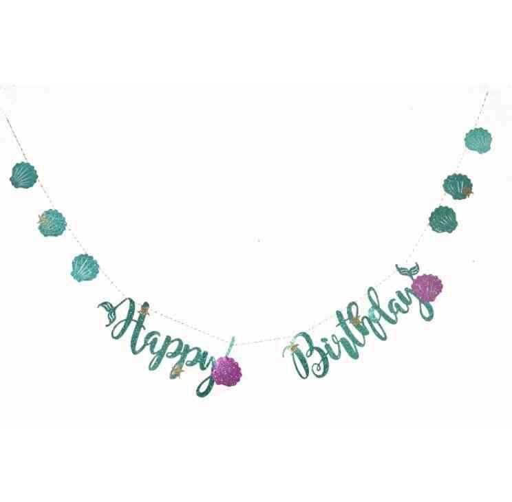 Glitter Banner Cardboard Garland Happy Birthday Party Decoration