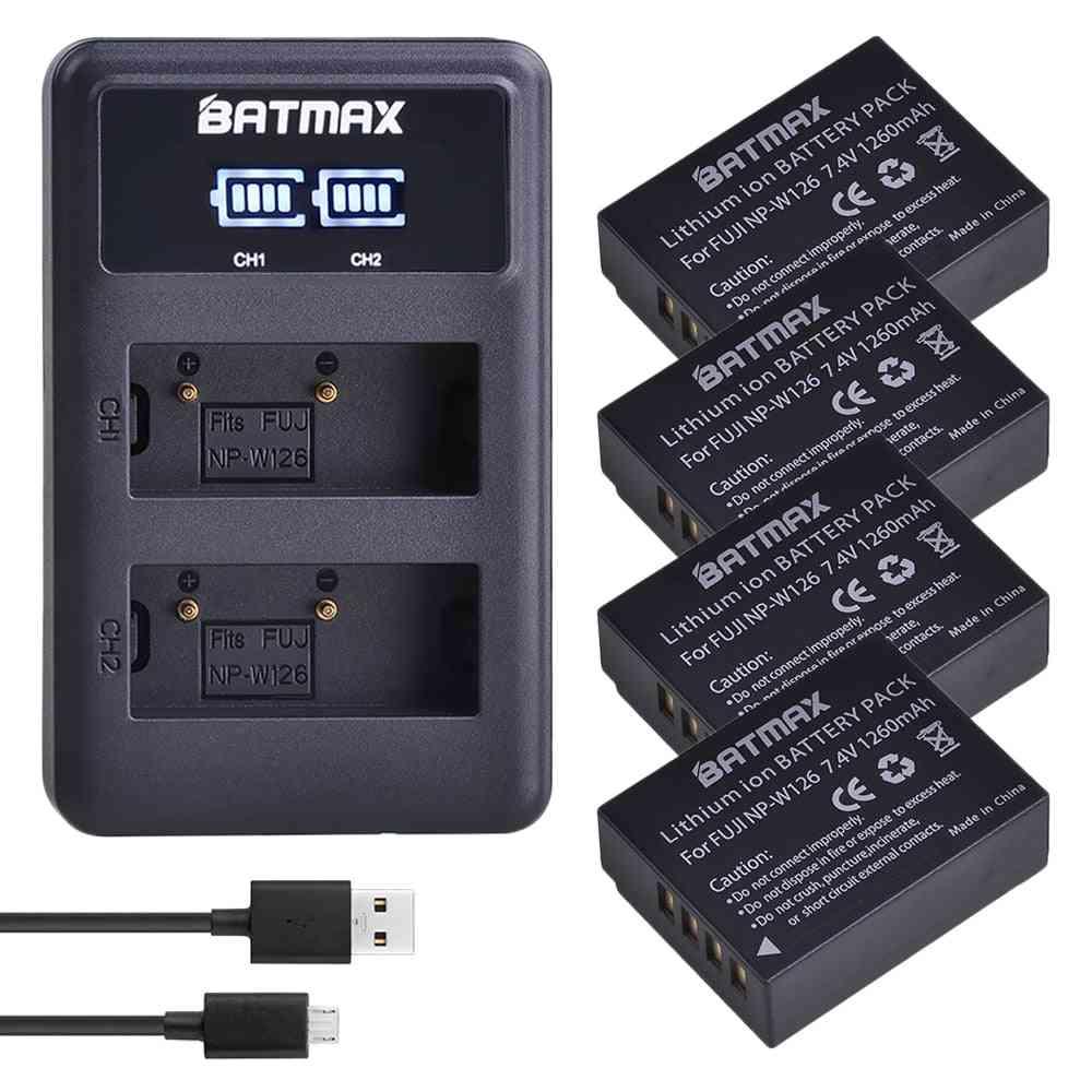 1260mah Np-w126 Np W126 Np-w126s W126s Battery + Led Dual Charger