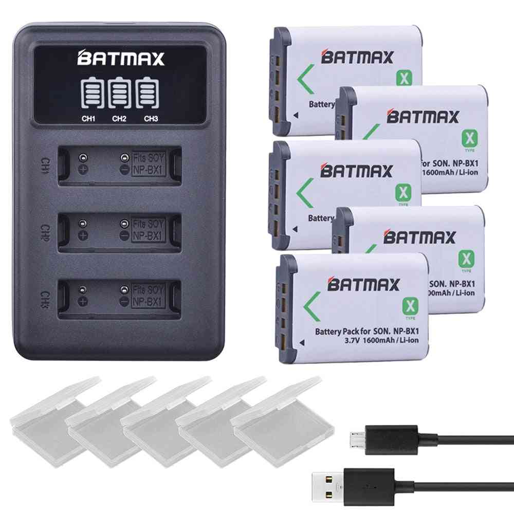 5pcs Np-bx1 Np Bx1 Battery + 3 Slots Lcd Charger For Sony Dsc-rx100 Dsc-wx500 Iv Hx300 Wx300 Hdr-as15 X3000r Mv1 As30v Hdr-as300