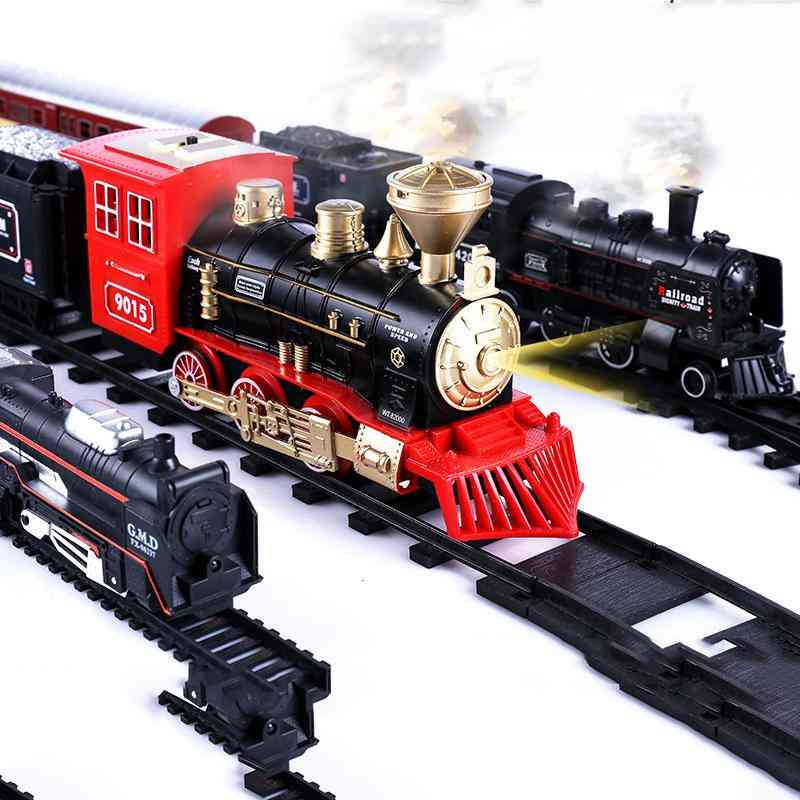 Electric Light Retro Train With Railway Electric Track Classical Set
