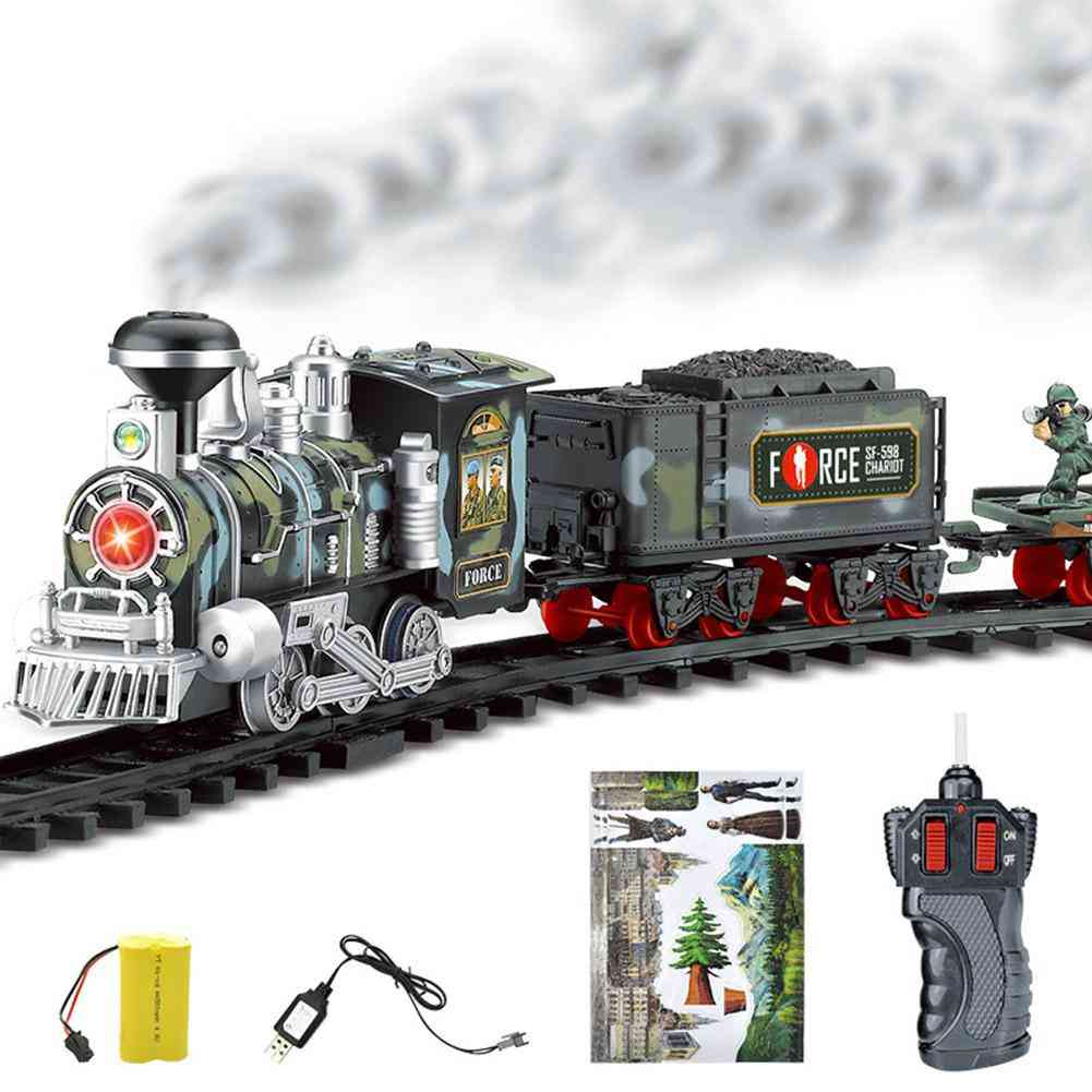 Remote Control Track Rechargeable Electric Train Sets Classic Steam Train Toy Electric Smoke